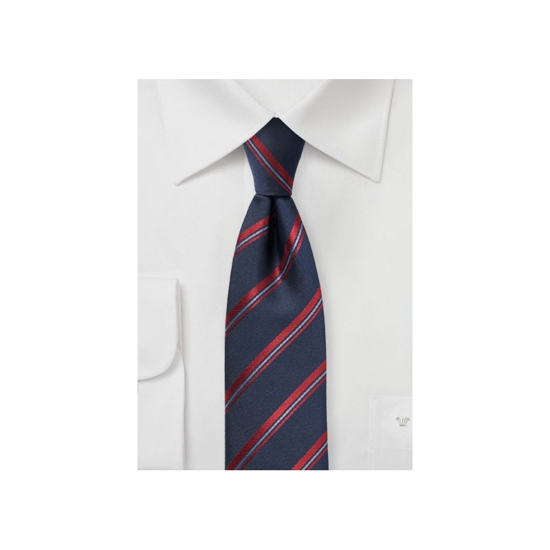 Midnight Blue Striped Skinny Tie