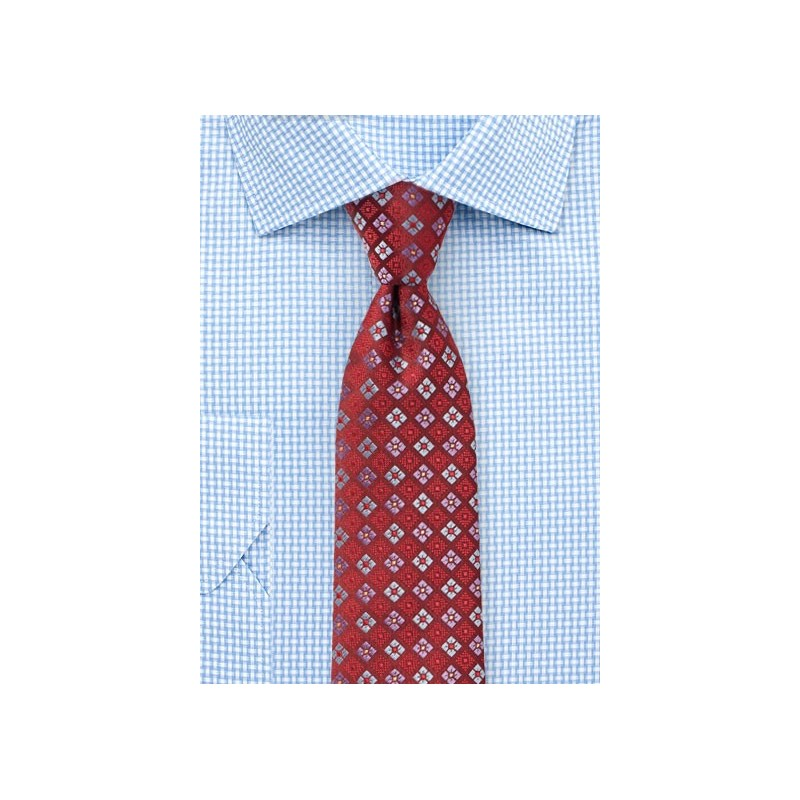 Cherry Red Tie with Florals in Lavender and Sky Blue