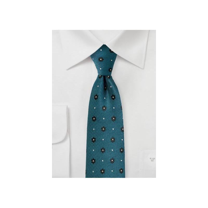 Teal Green Floral Skinny Tie