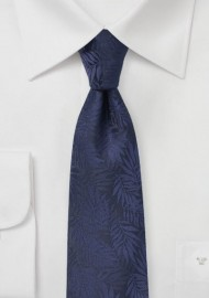 Dark Navy Skinny Tie with Tropical Leaf Design