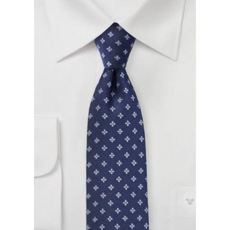Navy Blue Matte Woven Skinny Tie