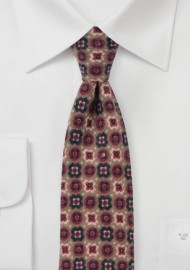 Medallion Print Flannel Tie in Toffee