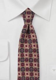 Medallion Print Flannel Tie in Toffee