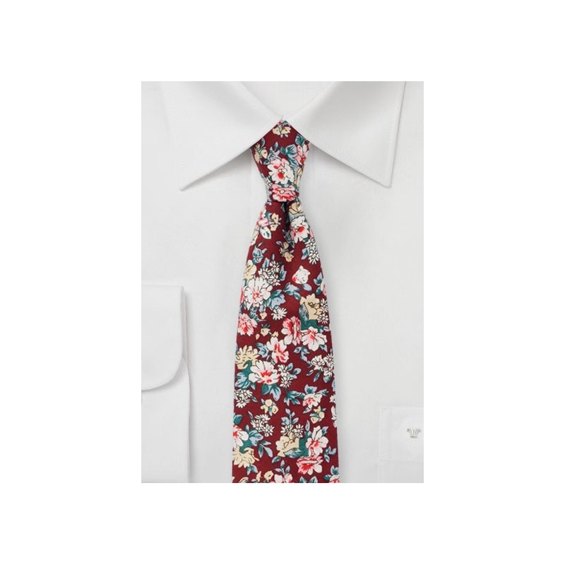 Burgundy Tie with Pink Floral Print