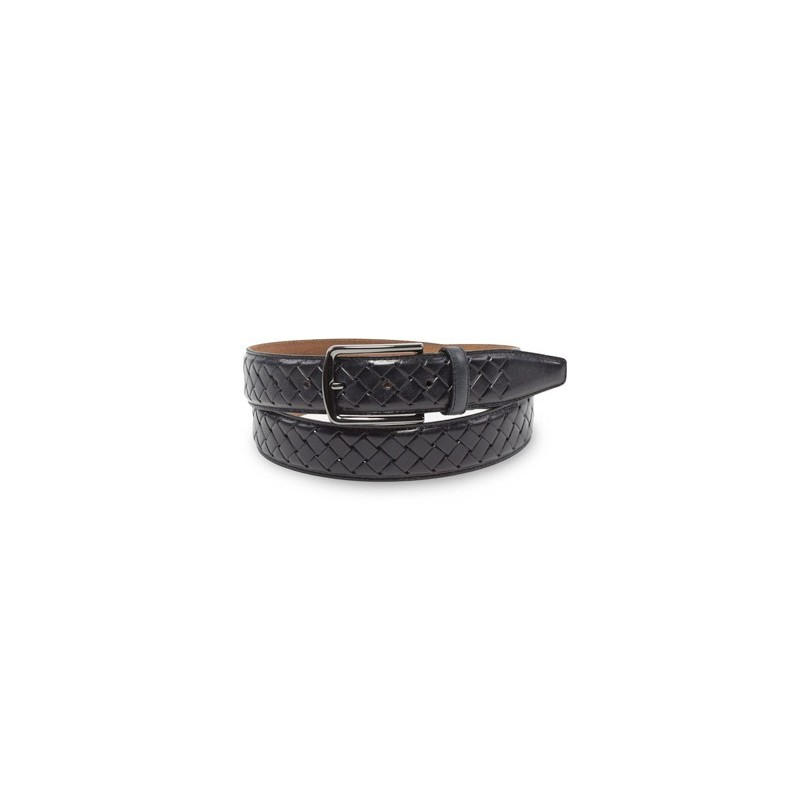 Braided Black Genuine Leather Belt