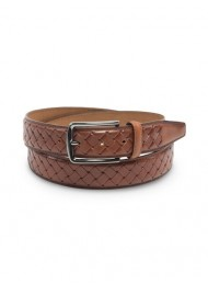Braided Cognac Brown Genuine Leather Belt