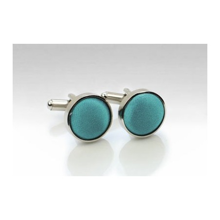 Teal Fabric Covered Cufflinks