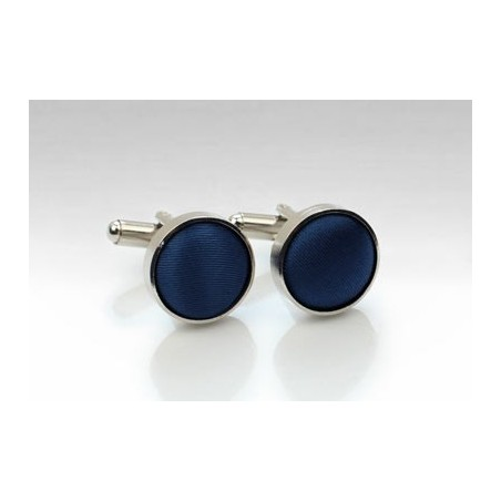 Fabric Covered Cufflinks in Navy