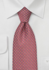 Diamond Pattern XL Length Tie in Red