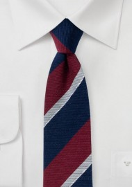 Wool and Silk Blend Striped Skinny Tie