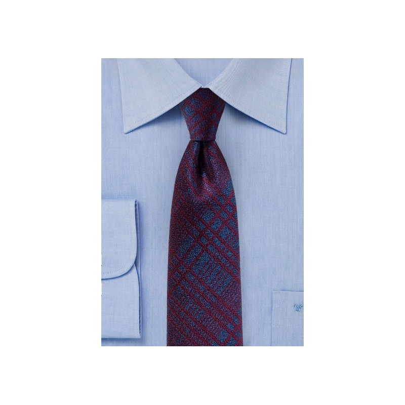 Purple and Burgundy Plaid Skinny Tie