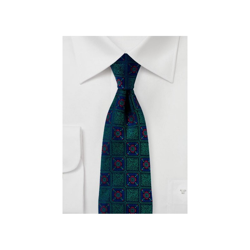 Medallion Weave Designer Tie Green and Blue