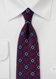 Dark Cherry Red and Navy Medallion Weave Tie