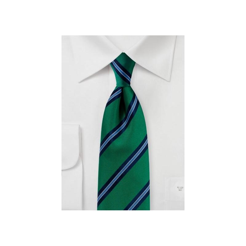 Matte Woven Striped Tie in Kelly Green