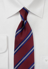 Mahogany Red Striped Tie in Matte Finish
