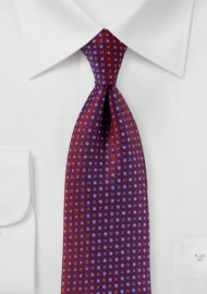 Burgundy Mens Tie with Micro Weave Pattern