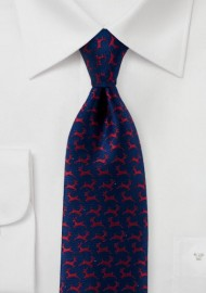 Reindeer Pattern Tie in Navy and Red