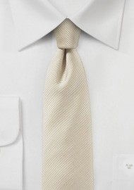 Slim Ribbed Textured Tie in Ivory