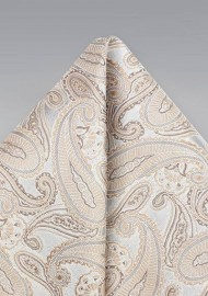 Golden Champagne Silk Paisley Hanky