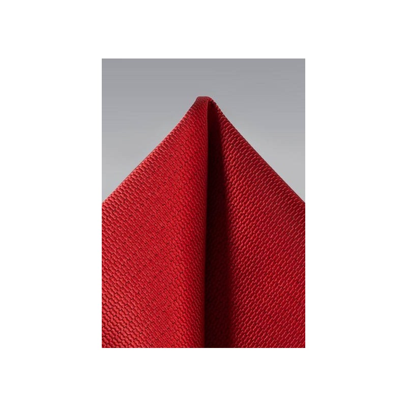 Cherry red textured pocket square