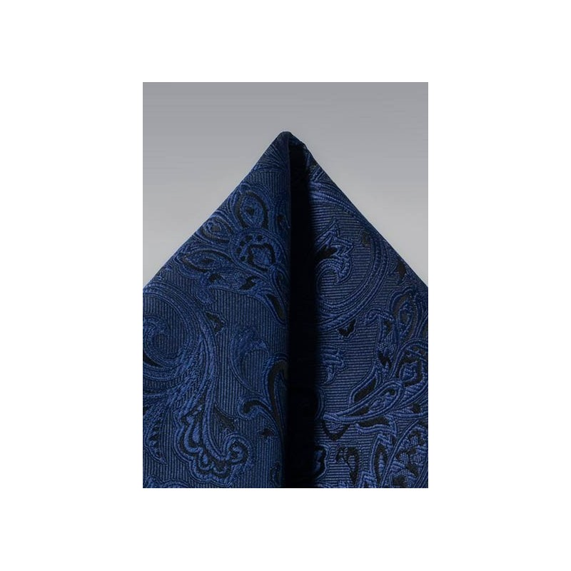 Midnight Navy Paisley Pocket Square