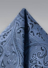 Steel Blue Paisley Pocket Square