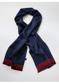 Navy and Maroon Paisley Silk Scarf