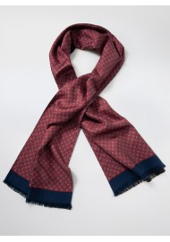 Timelessly Elegant Mens Silk Scarf in Burgundy and Navy