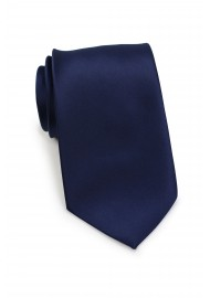 extra long satin finish tie in solid color in navy blue