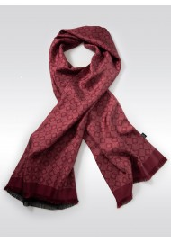 Merlot Red Medallion Print Silk Scarf