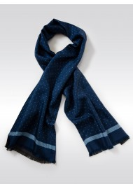 Luxury Designer Silk Scarf in Navy