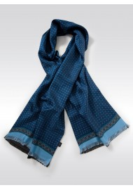 Classic Foulard Print Silk Scarf in Blues