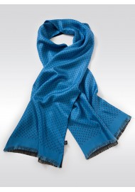 French Blue and Navy Anchor Print Silk Scarf