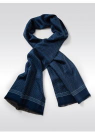Royal Blue Dot Print Silk Scarf