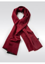Wine Red and Navy Polka Dot Silk Scarf