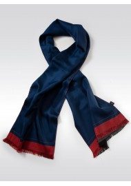 Classic Silk Scarf in Dress Blue
