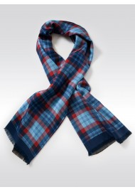 Tartan Check Silk Scarf in Reds and Blues