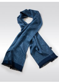 Fine Silk Scarf with Geometric Paisley Print in Blue