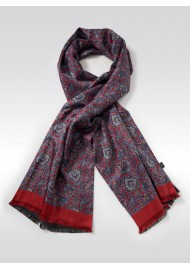 Italian Paisley Print Silk Scarf in Reds, Blues, and Gold