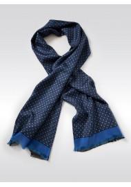 Foulard Print Silk Scarf in Navy, Maroon, Amber