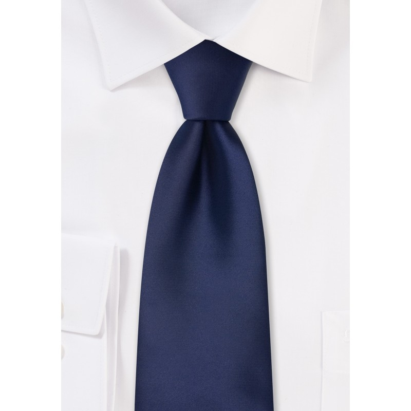 dark navy solid color mens tie in XL length