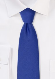 Narrow Woolen Necktie in Marine Blue