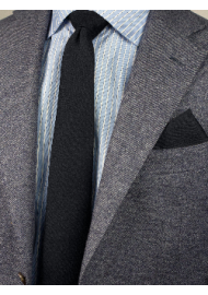 Woven Classic Black Mens Tie Styled
