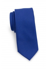 Narrow Woolen Necktie in Marine Blue Rolled