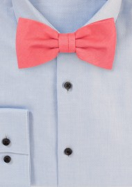 Coral Bow Tie in Linen Texture