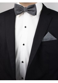 Woolen Charcoal Bow Tie Styled