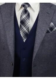 tartan plaid necktie in slim width in blue