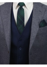 tartan plaid tie and pocket square in hunter green