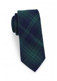 skinny tartan cotton tie in dark green and navy