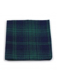 tartan plaid hanky in green and navy